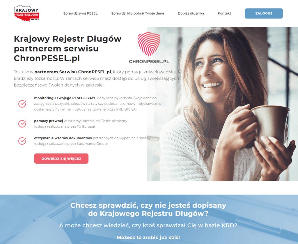 Jak sprawdzić się w KRD - krok 1 - strona konsument.krd.pl